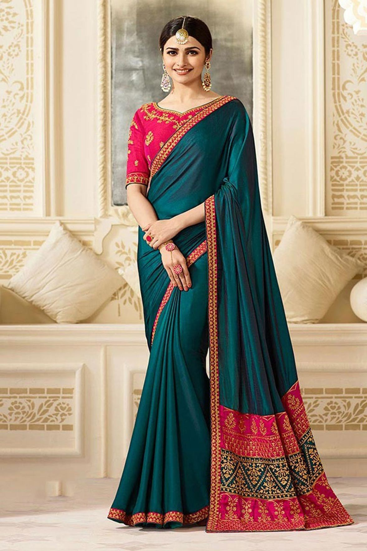 IndianEfashion Blue Silk Crepe Saree