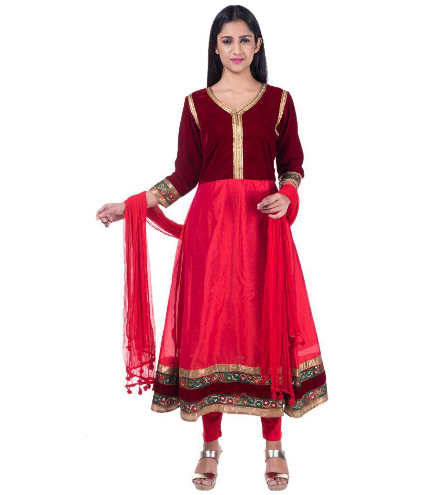 MAMOSA Red Bangalore Silk Anarkali Stitched Suit