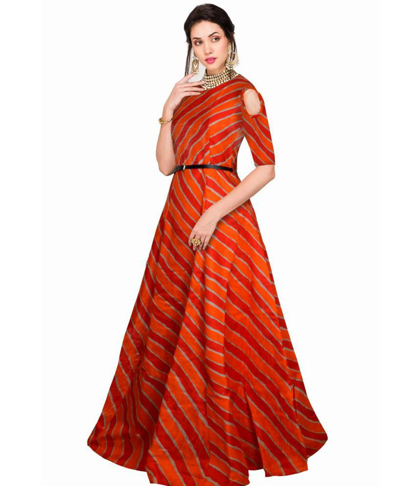 Viha Orange Bangalore Silk Anarkali Stitched Suit