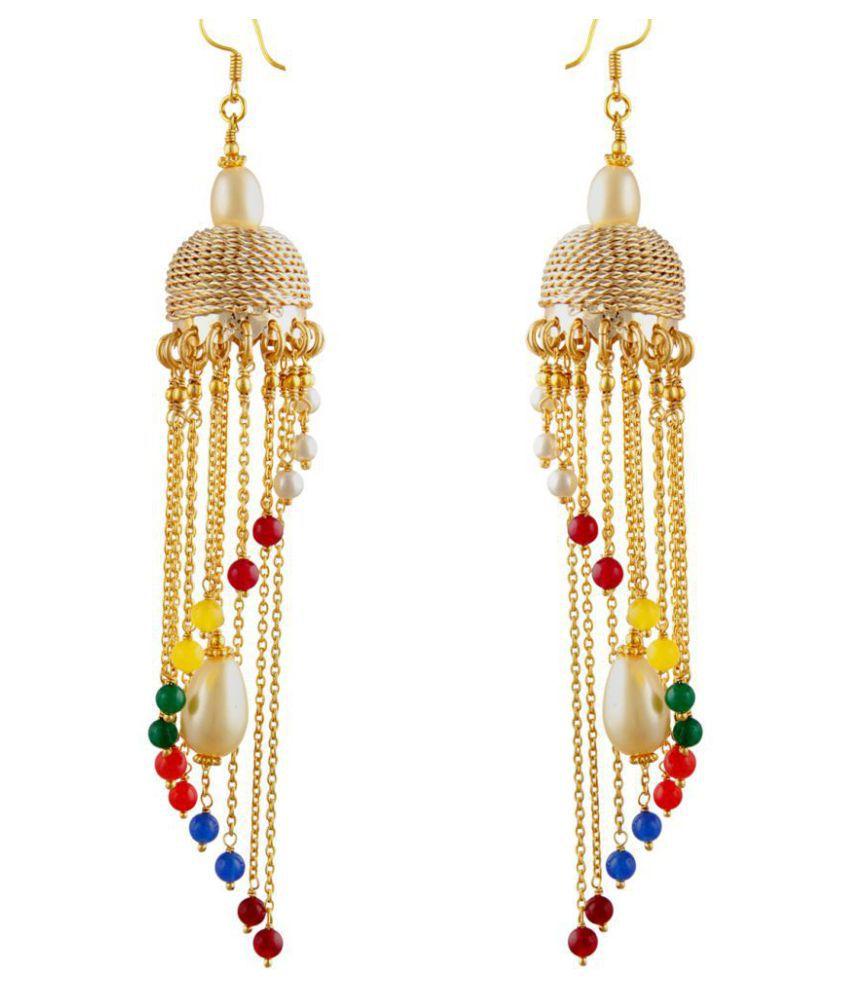 Pearlz Ocean Pearl Studded Multicolour Hanging Earrings