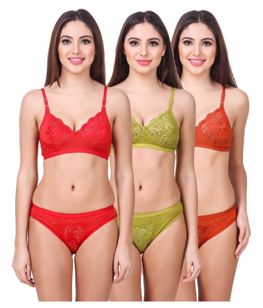 Buy In Beauty Cotton Bra and Panty Set Online at Best Prices in India -  Snapdeal dd321033d