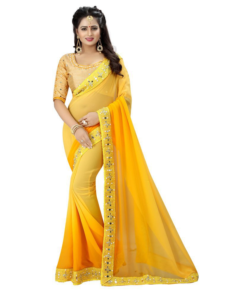 Niketan Ethnic Yellow Georgette Saree