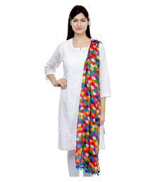 Weavers Villa Multicoloured Cotton Silk Geometric Dupatta