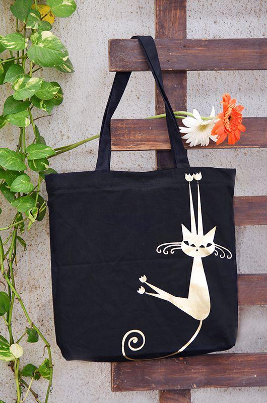 Vivinkaa Black Peppy Canvas Tote Bag