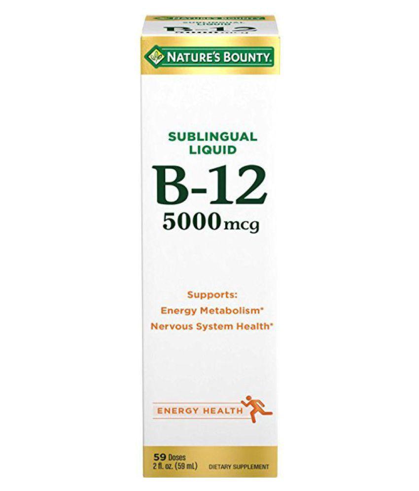 Nature's Bounty B-12 5000 mcg Sublingual Liquid 1 ml Vitamins Syrup
