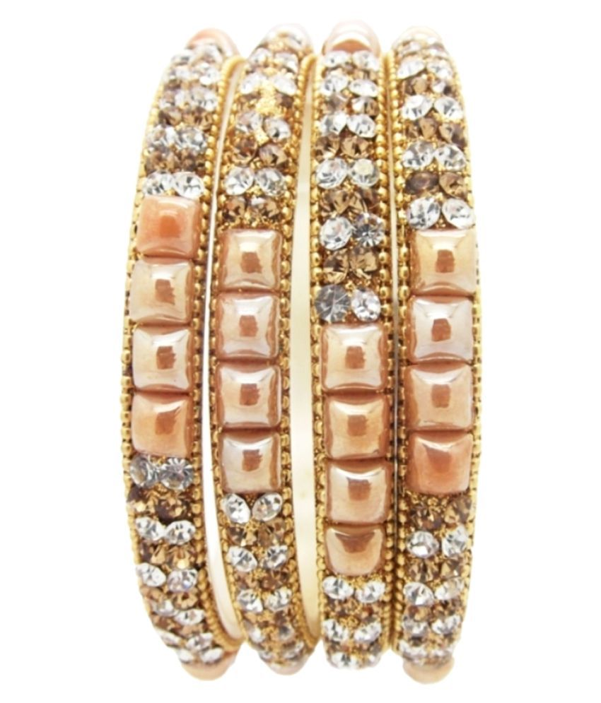 9blings Fancy Gold plated Peach Stones 4pc CZ Bangles