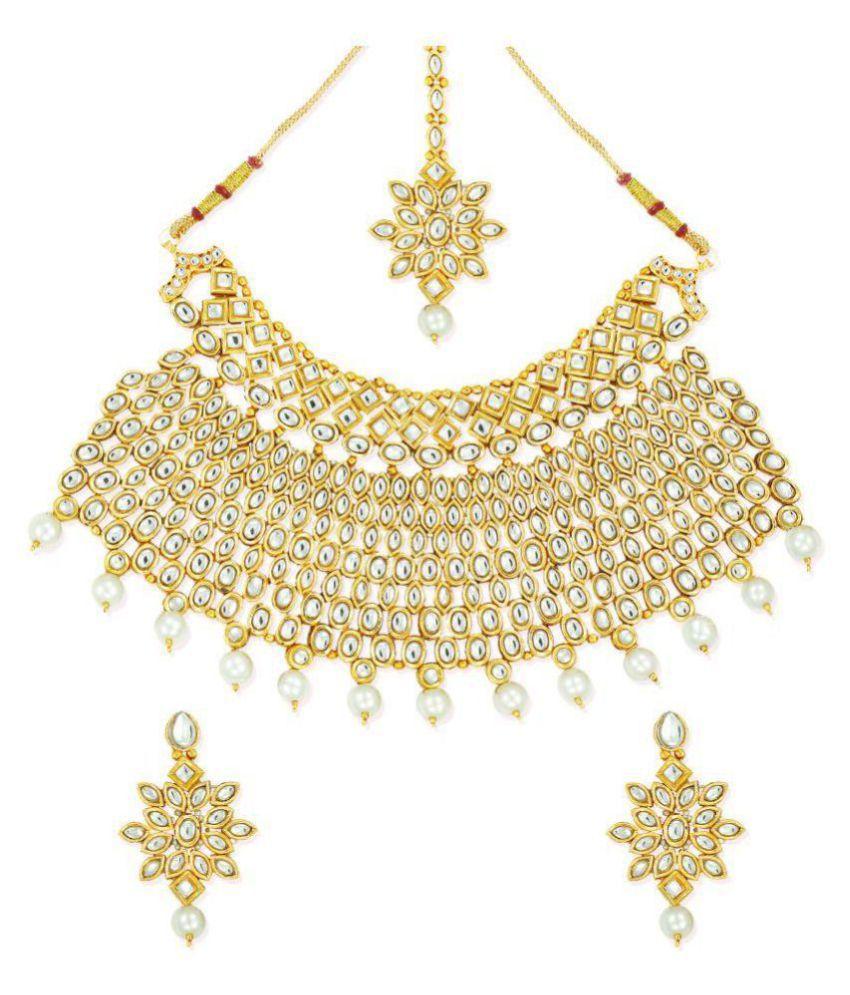Zaveri Pearls Gold Tone Elegant Bridal Kundan Necklace Set-ZPFK6988