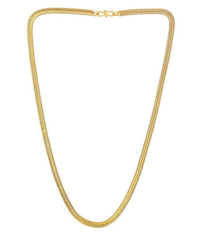 Dzine Trendz Gold plated Brass, round snake body design, 5mm thick 22 Inch Italian machine made Chain Men women fashion