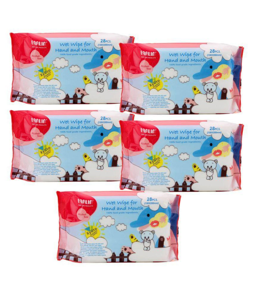 Farlin Wet Wipes for Hand and Mouth 28 pcs/pack- (COMBO PACK OF 5)