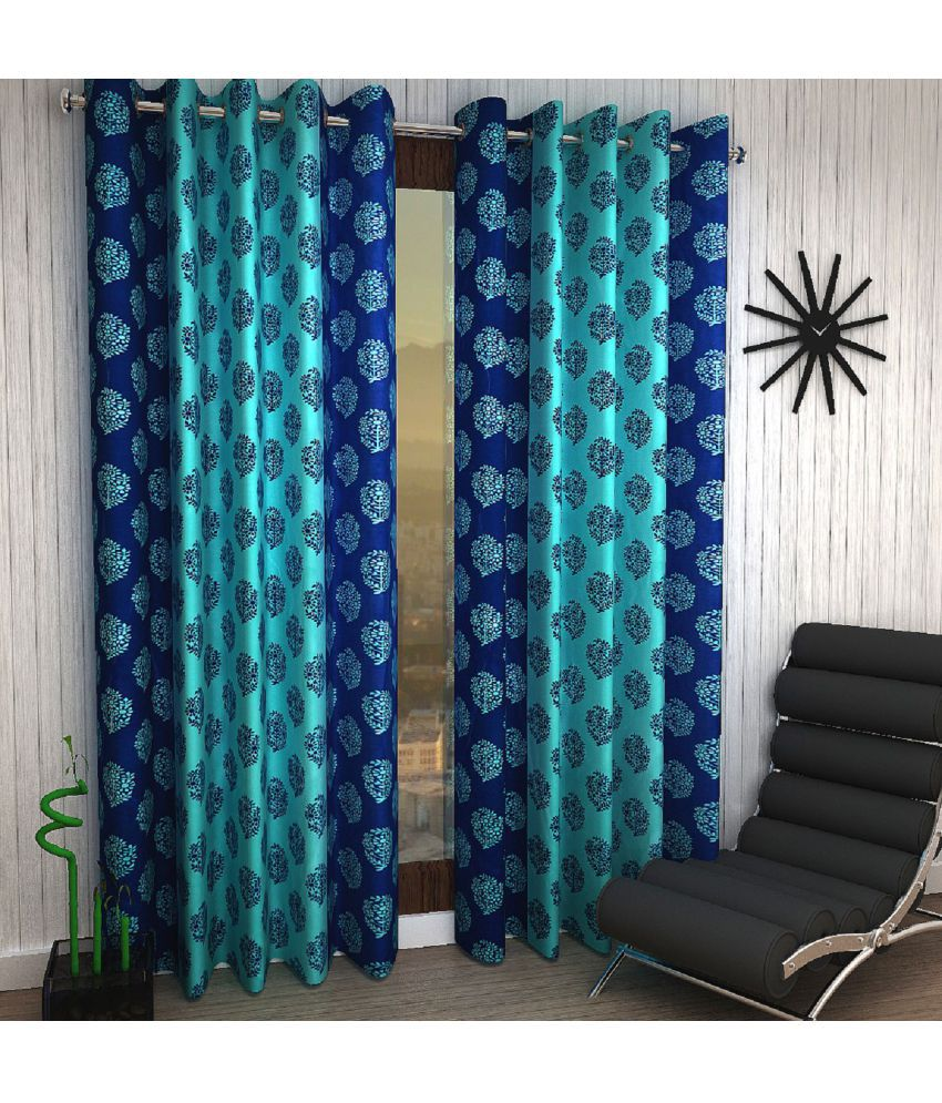 Home Sizzler Set of 2 Window Eyelet Curtains Printed Blue