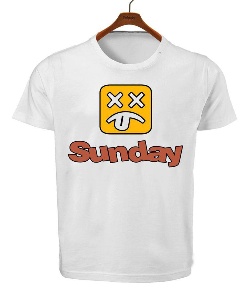 RITZEES White Dry Fit Polyester T-Shirt On Sunday