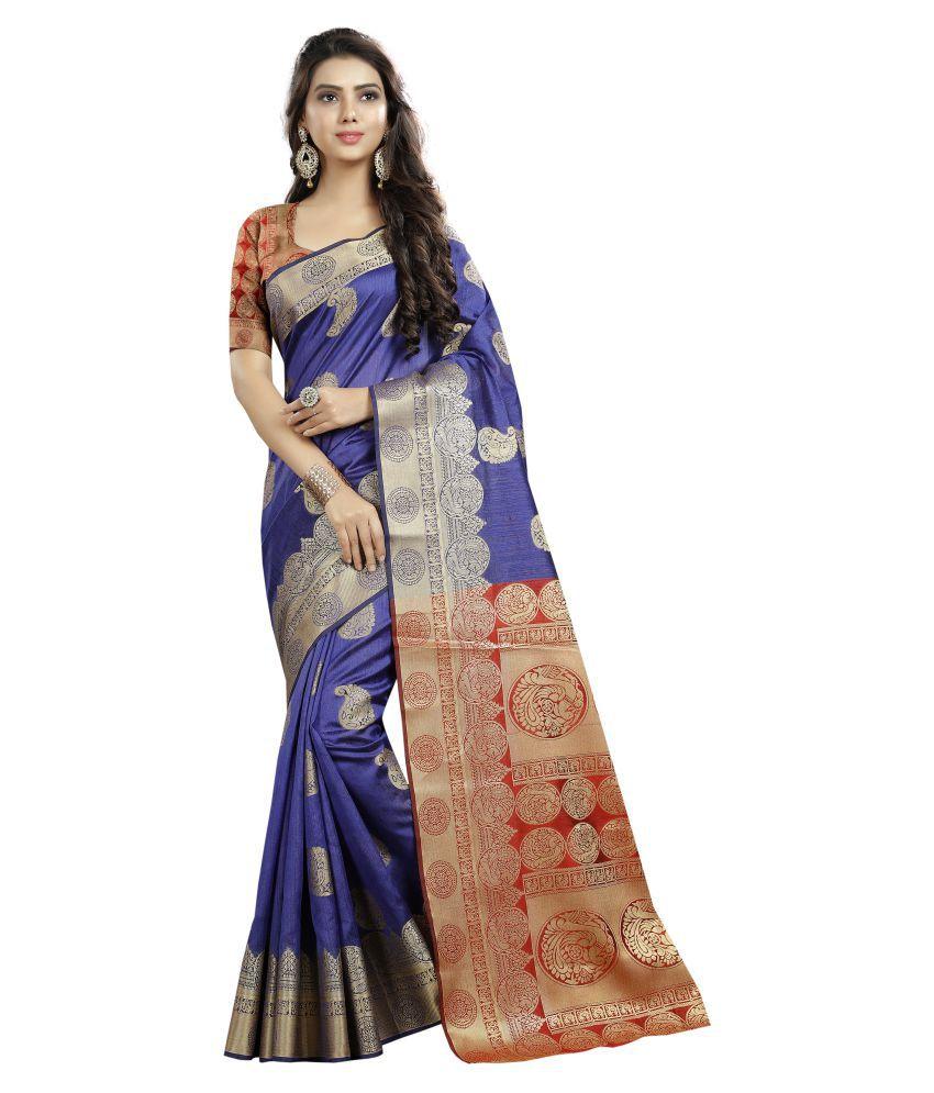 LATEST FASHION DEALS Blue Cotton Silk Saree