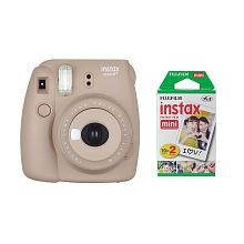 Fujifilm Instax Mini 8+ Instant Film Camera (Cocoa) with Instant Film, 2 x 10 Shoots (Total 20 Shoots) + Colorful Photo Frame Stic