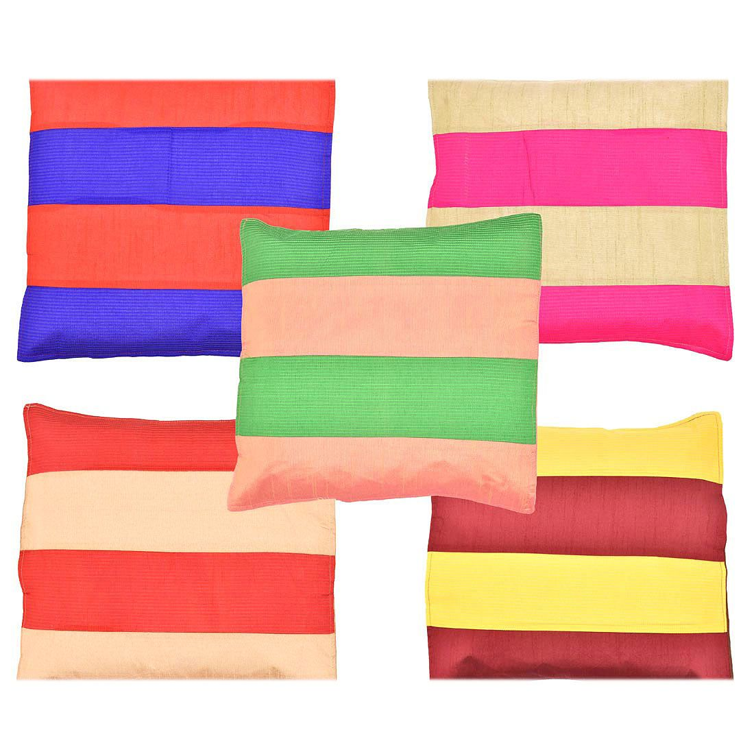 Halowishes Set of 5 Silk Cushion Covers 40X40 cm (16X16)