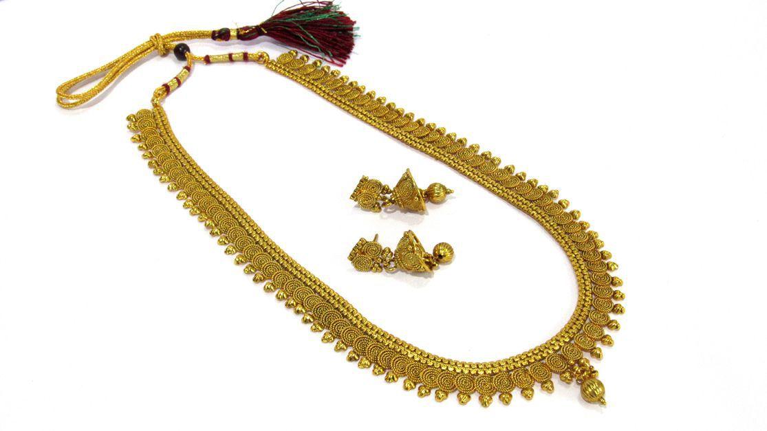 Copper Round Jelebi Long Necklace Set