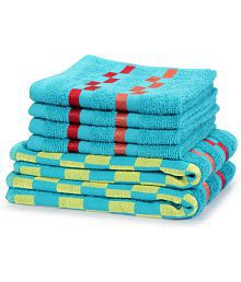 BIANCA Set of 6 Non Terry Hand & Face Towel Set Blue