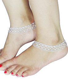 Fluck Alloy Silver Plated Pair Of Anklets For Women (Silver)