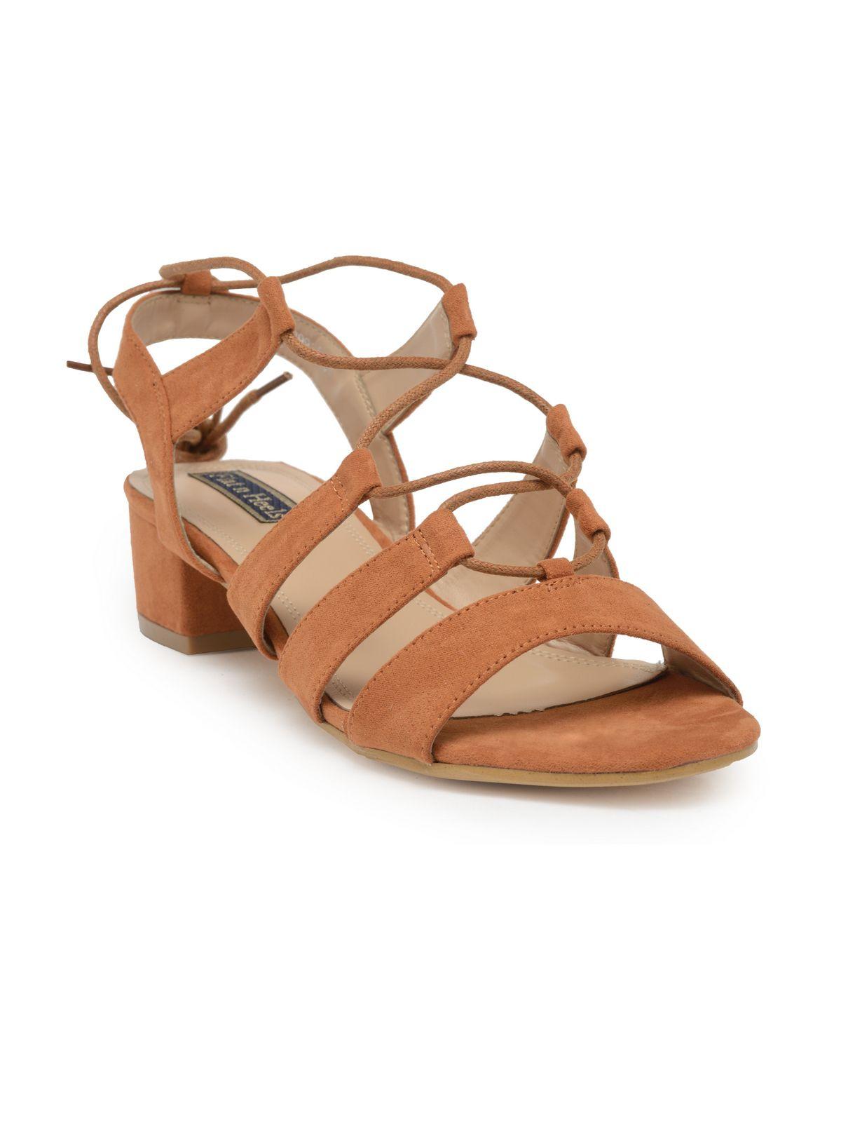 Flat n Heels Tan Block Heels