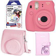 Fujifilm Instax Mini 9 Instant Camera - Flamingo Pink, Fujifilm Instax Mini Airmail Film, Fujifilm INSTAX WALLET ALBUM PINK and Fu