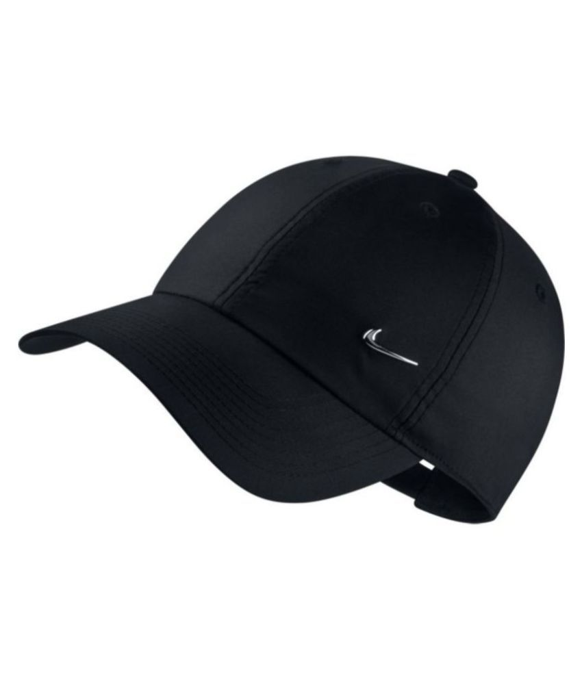 d642445233f Nike Black Plain Polyester Caps - Buy Online   Rs.