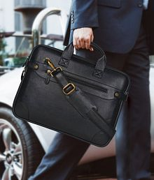 Home Story Black P.U. Leather Office Laptop Bag- 15.6 Inch