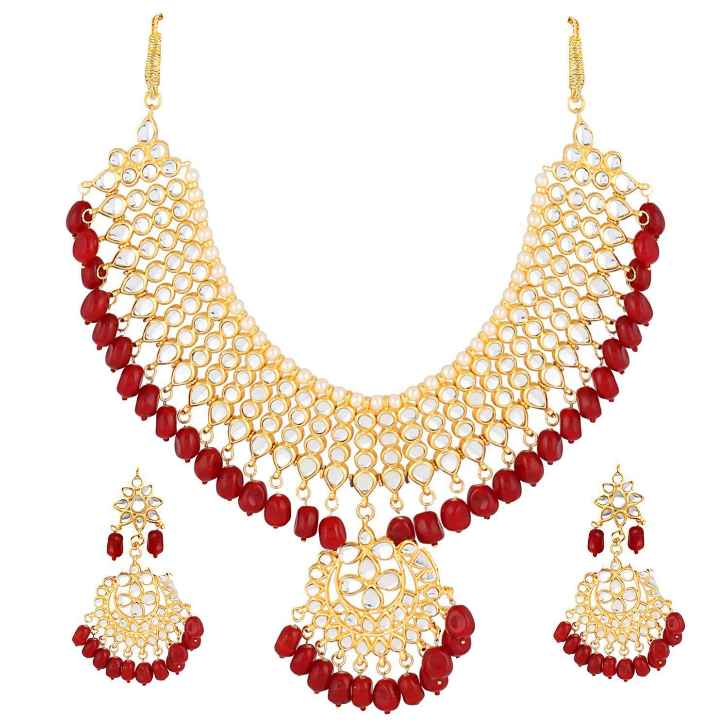 cd9c0dc7c ... I Jewels Traditional Kundan   Pearl Choker Necklace Set For Women  (K7058R) ...
