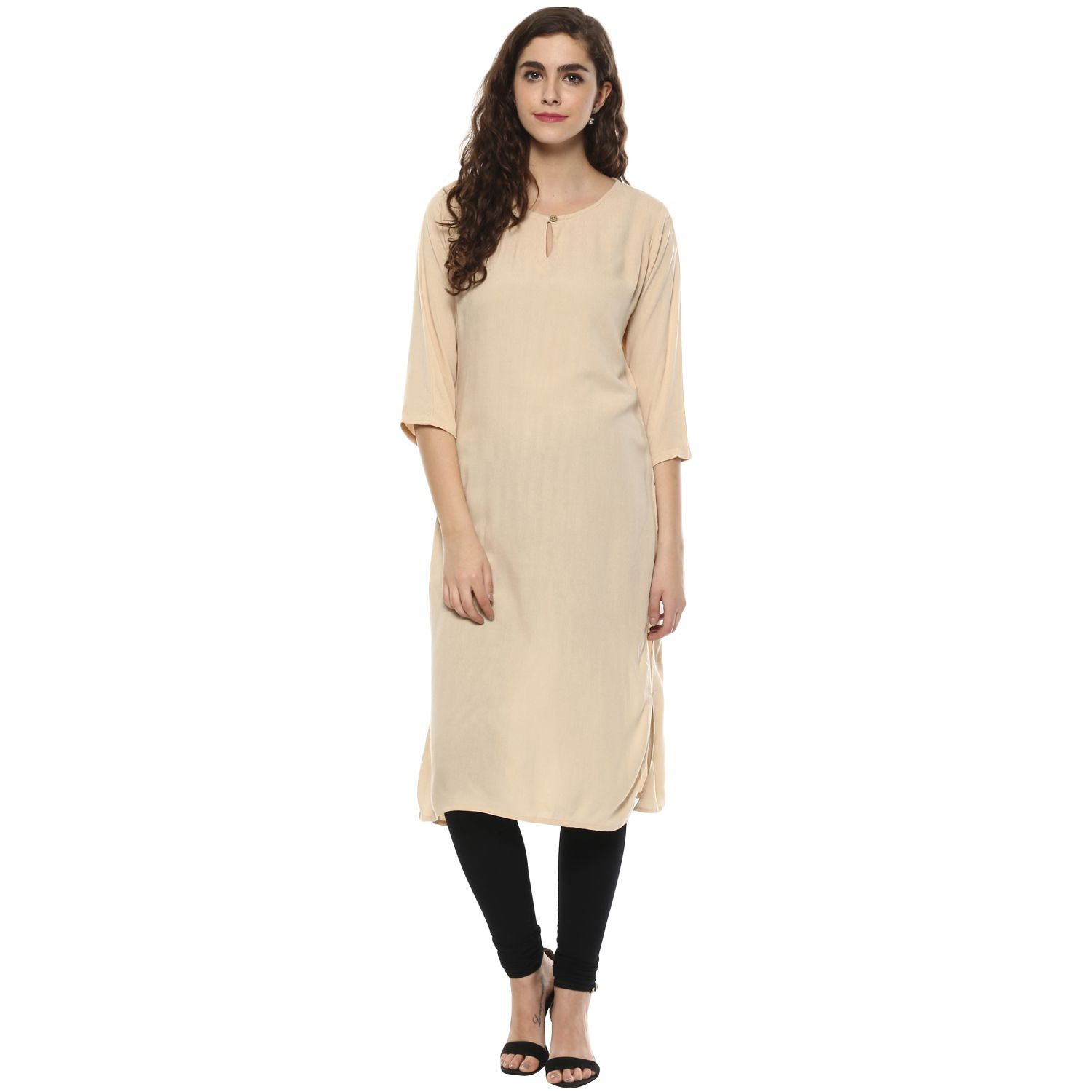 Colors Couture Peach Rayon Straight Kurti