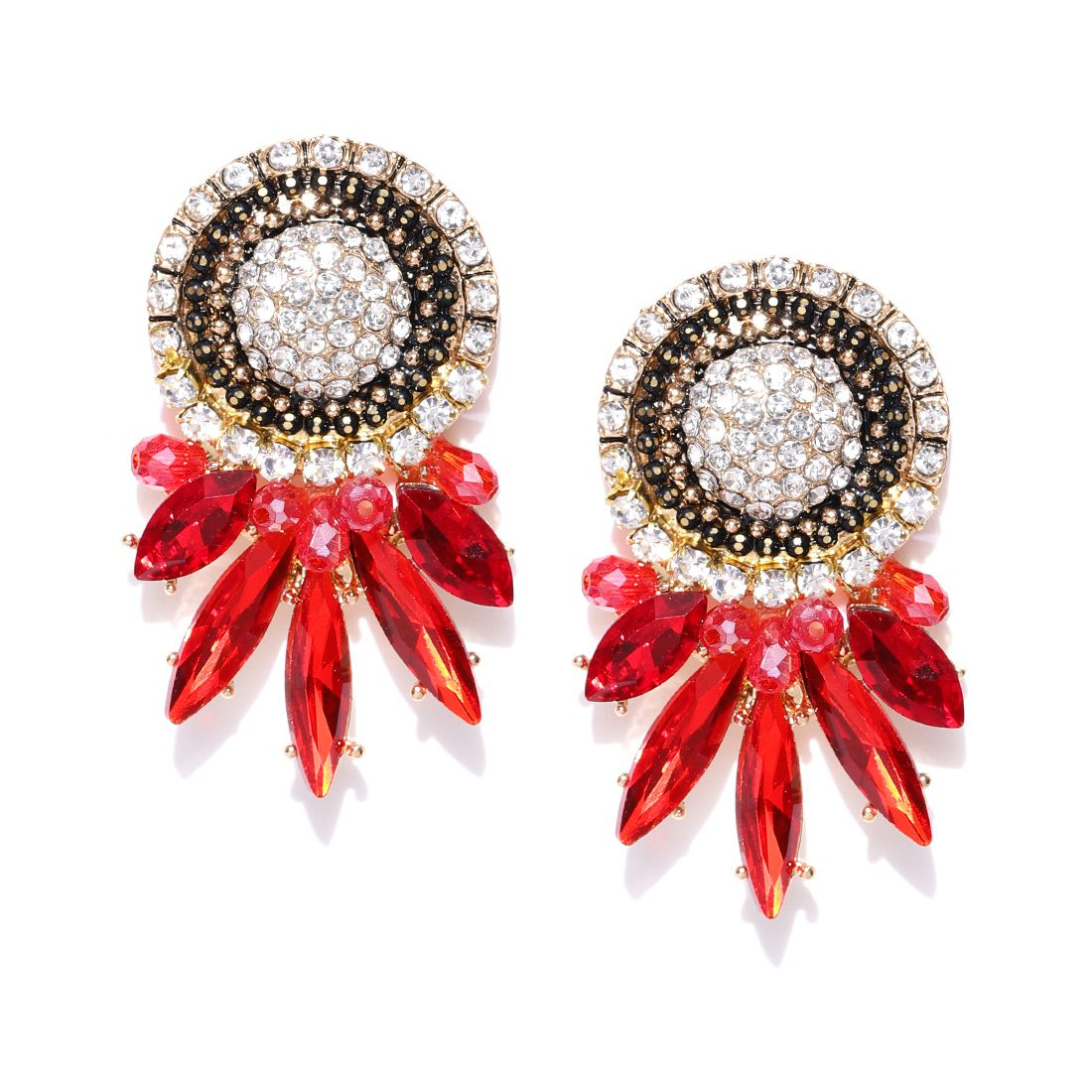 Jewels Galaxy Fresh Arrival Luxuria Splendid Design Swiss Austrian Diamond Geometric Glistening Oxidized Gold Earrings For Women/Girls