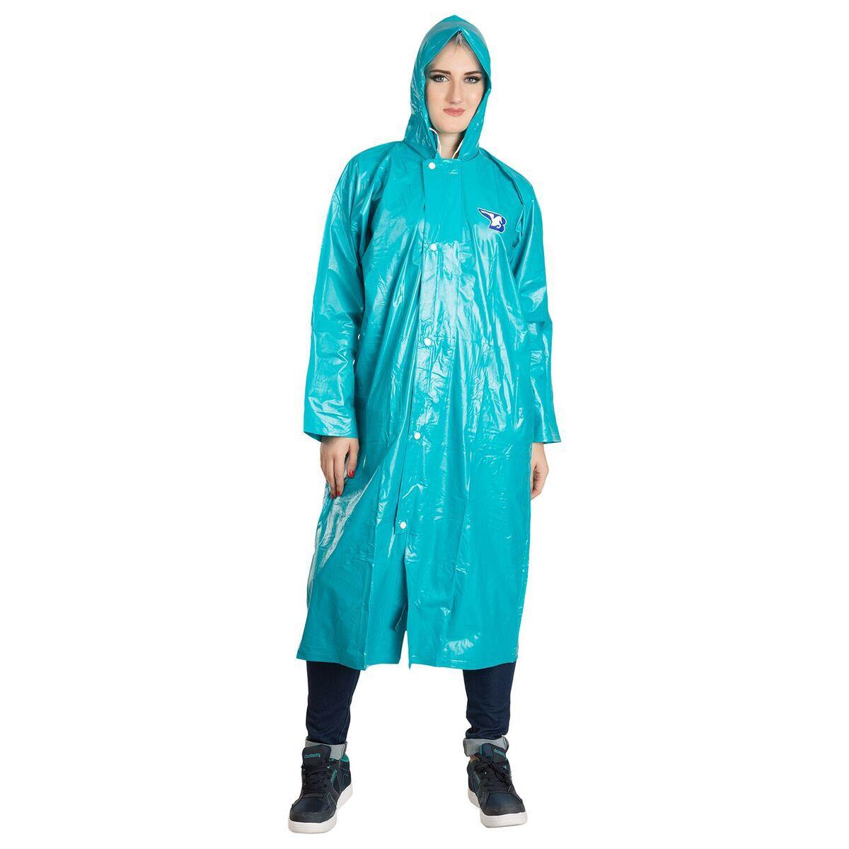 Burdy Polyester Long Raincoat - Green