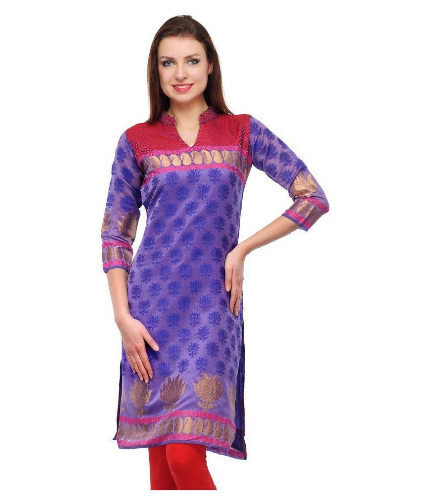 Visach Purple Jacquard Straight Kurti
