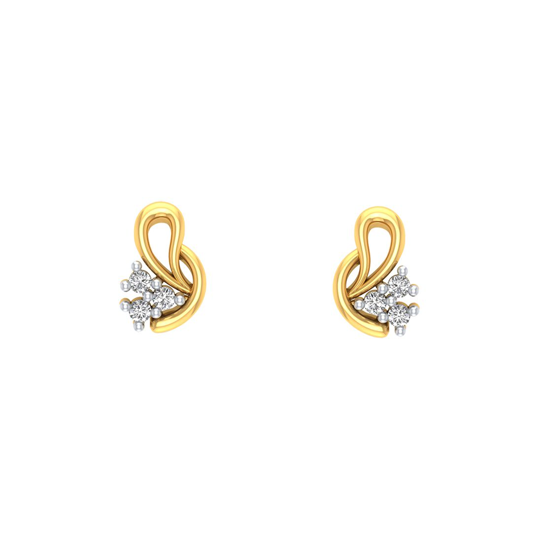Amantran Gems And Jewels 14k Gold Diamond Studs