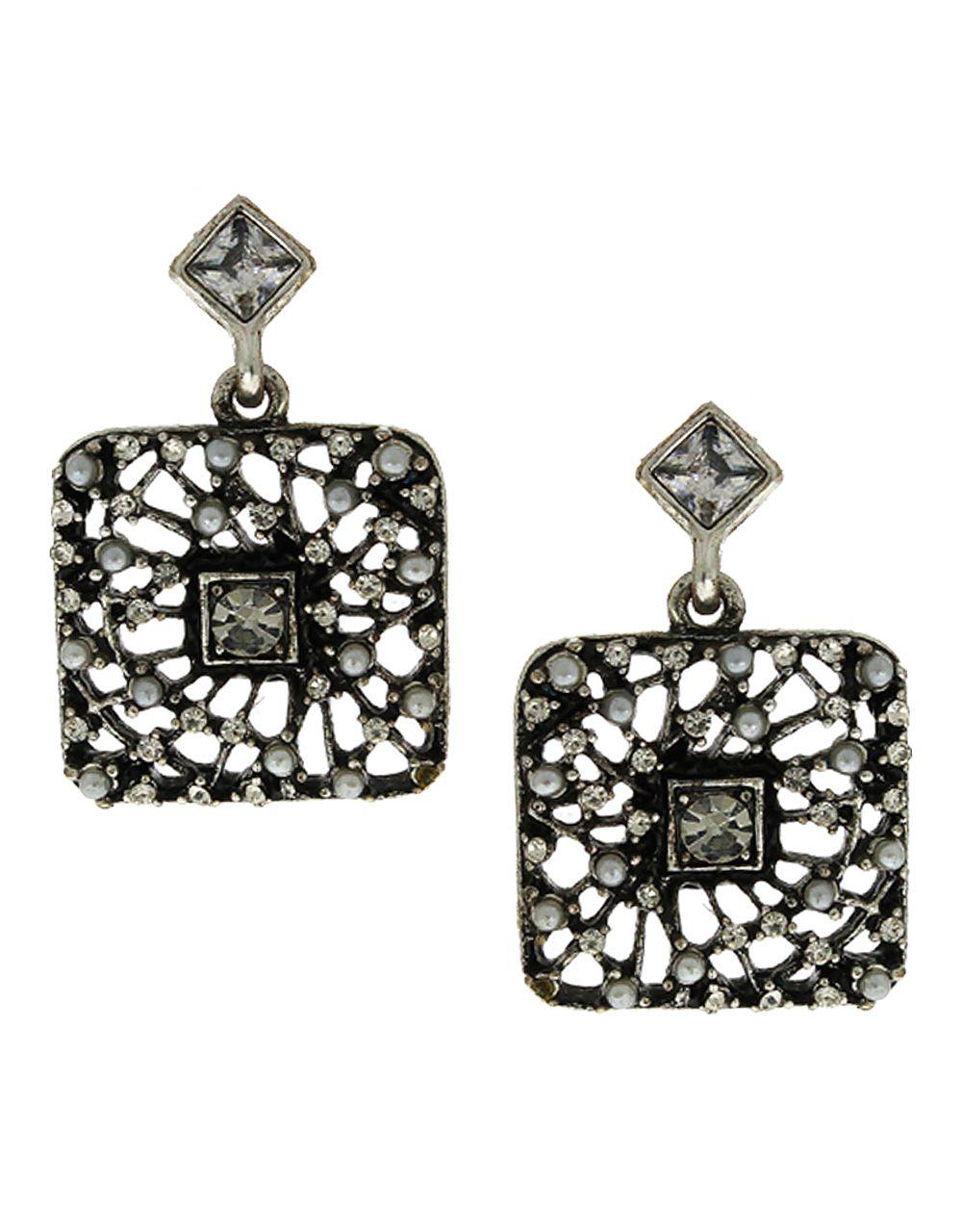 Anuradha Art Silver-Black Combination Very Pretty Designer Earrings For Women/Girls