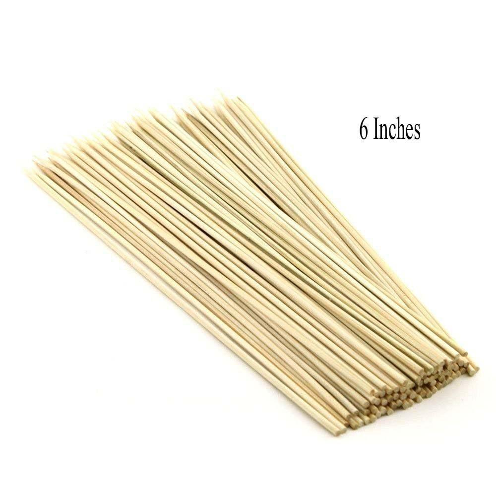 YUTIRITI 6 Inches BBQ Toothpicks Bamboo Dinner Set of 100 Pieces