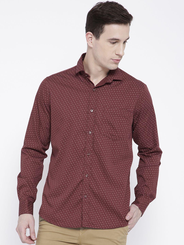 DENNISON Maroon Slim Fit Shirt