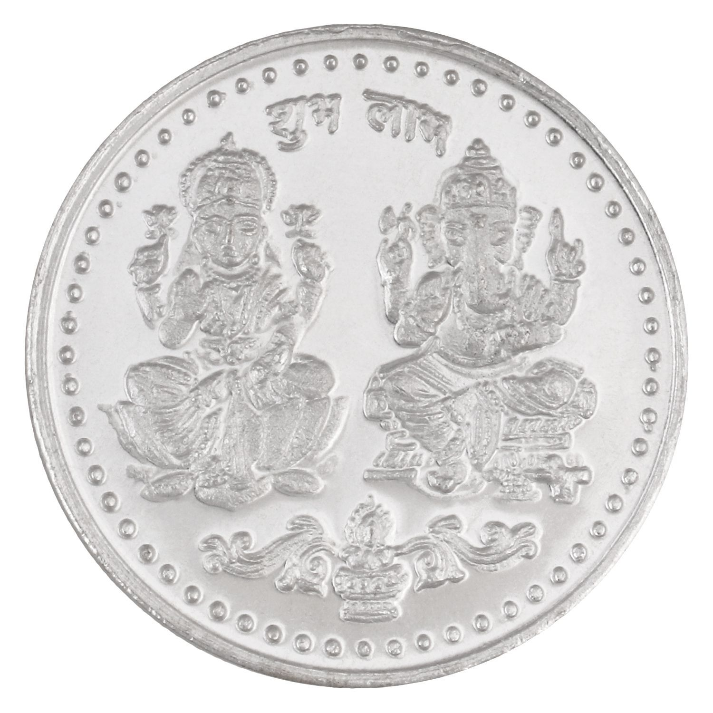 Jewel99 10 Gm Silver Ganesh & Laxmi Ji Coin
