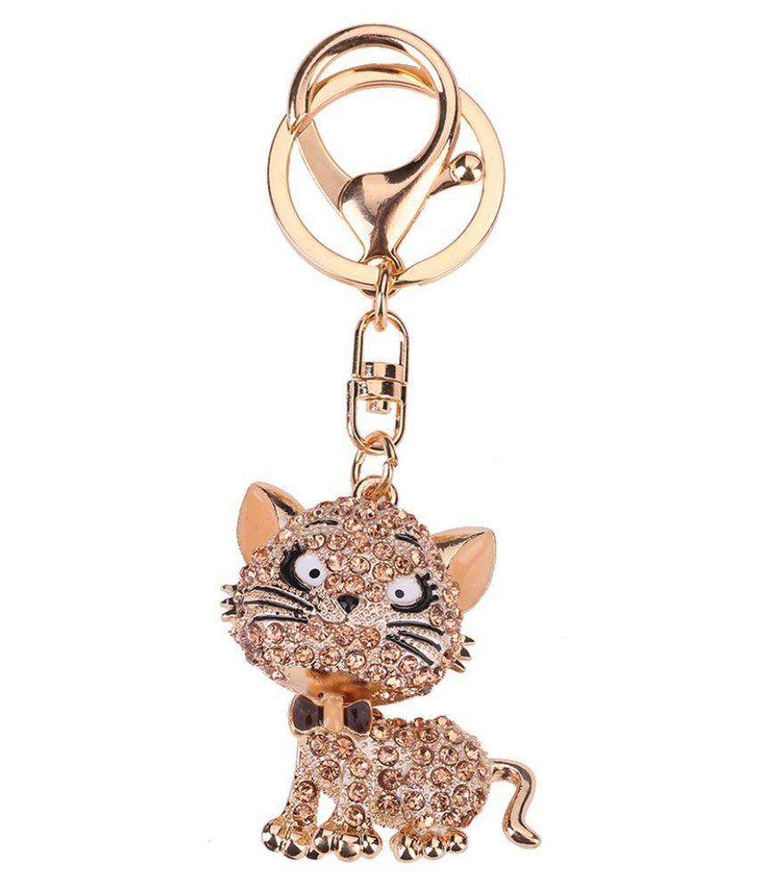 Lovely Cat Crystal Rhinestone Key Chain Holder Purse Bag Car Keyrings Keychain Jewelry Gifts