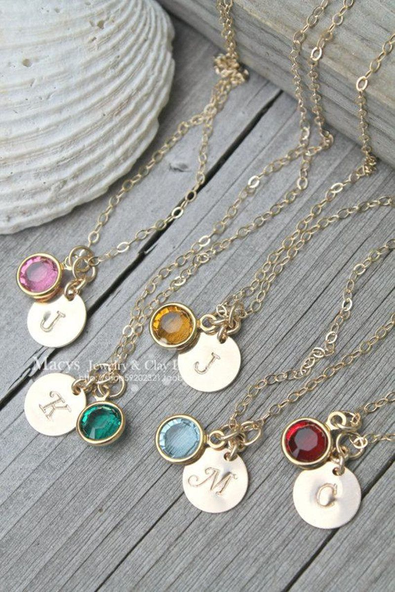 Personalized Original Manual Initial Birthstone and Circle Necklace, Bridesmaid Gifts, Wedding Shower