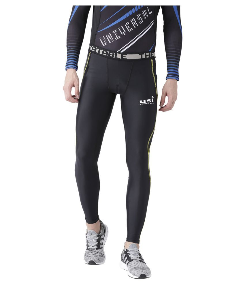 USI Universal Black And Yellow Training Track Bottoms