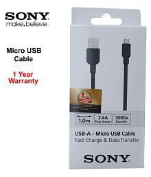 Sony USB Data Cable Black - 1 Meter Fast Charger with Data Transfer Support