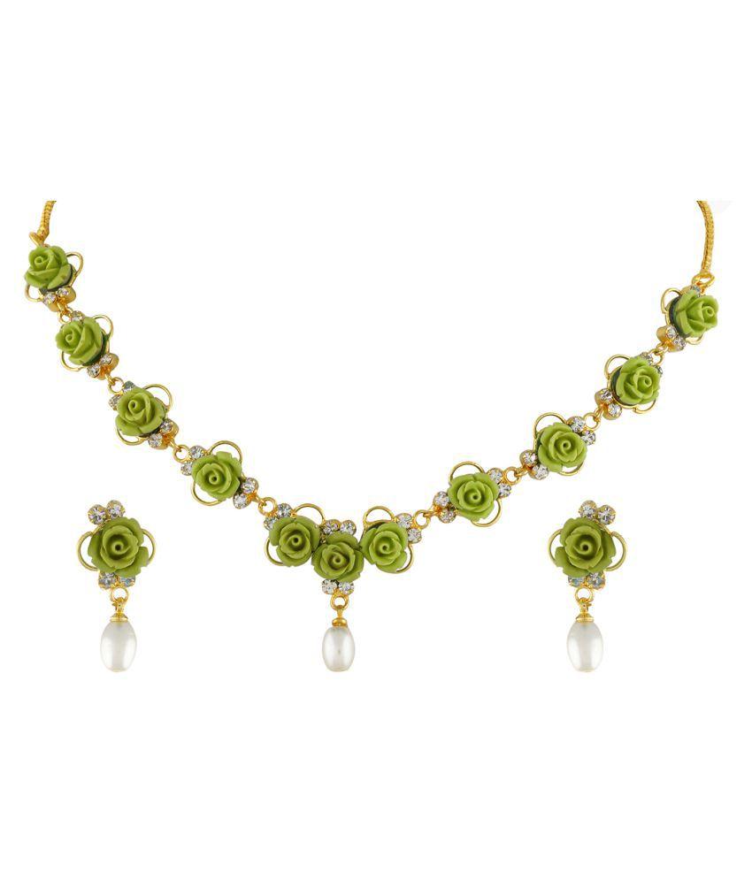 ClassiqueDesigner Jewellery Green Color Flower Necklace Set
