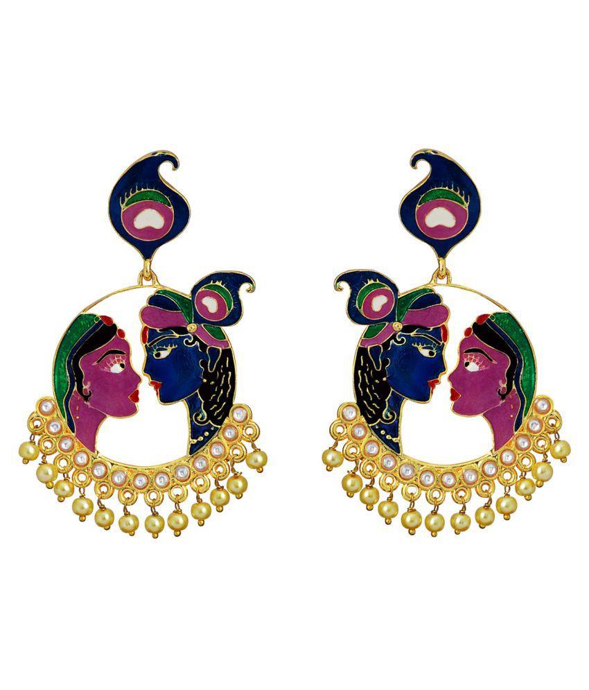 Meenakari Radha Krishna Kundan bali gold plated brass jhumki earring set