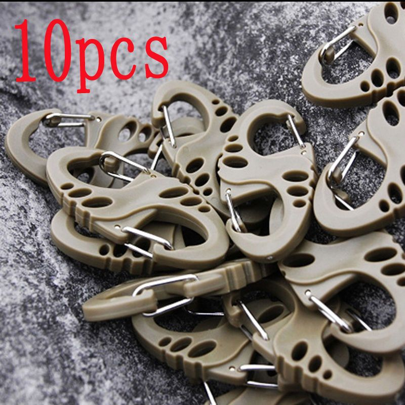 Portable 5/10PC Outdoor Climbing Hook S Type Carabiner Dual Buckle Keychain Mini