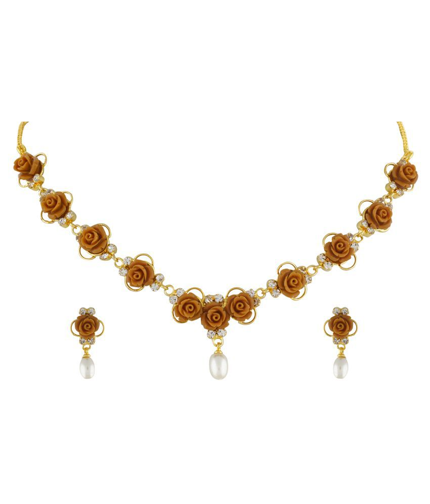 \nClassiqueDesigner Jewellery Brown Color Flower Necklace Set