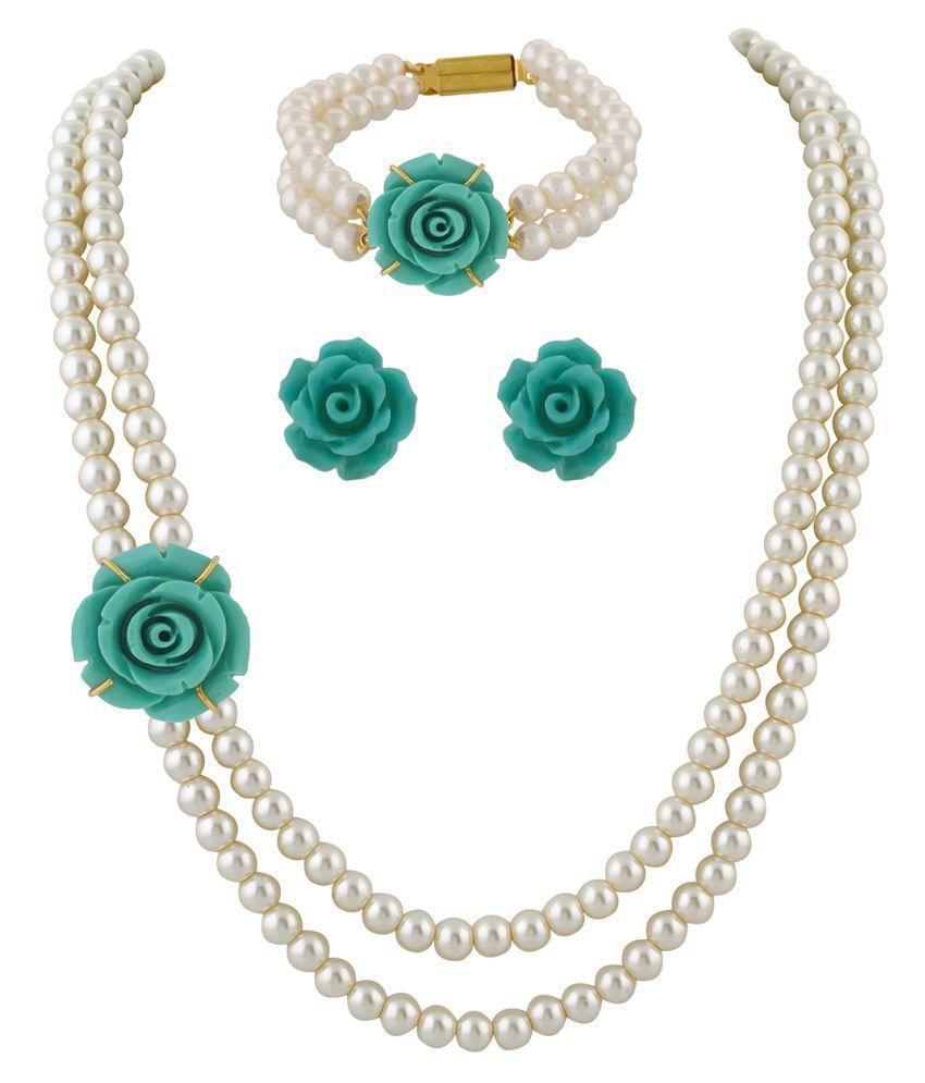 \nClassiqueDesigner Jewellery Blue Rose Pearl Set with Bracelet