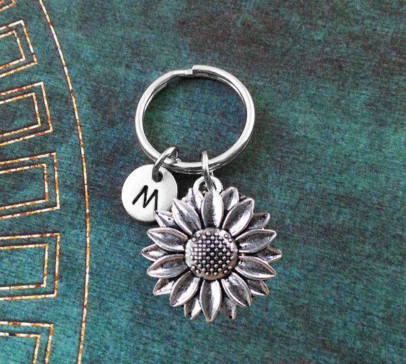 Sunflower Keychain, Sunflower Charm, Flower Keychain, Personalized Keychain, Initial Keychain, Initial Charm, Customized, Monogram