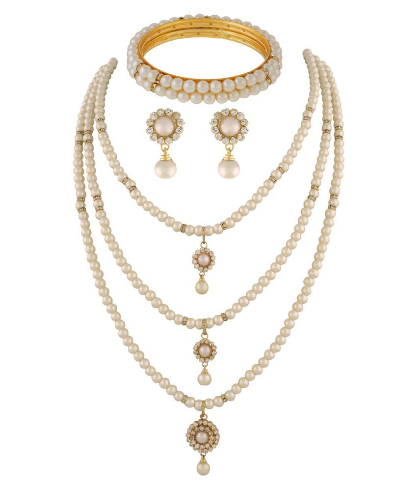 ClassiqueDesigner Jewellery Beautiful Pearl Set with Bangles