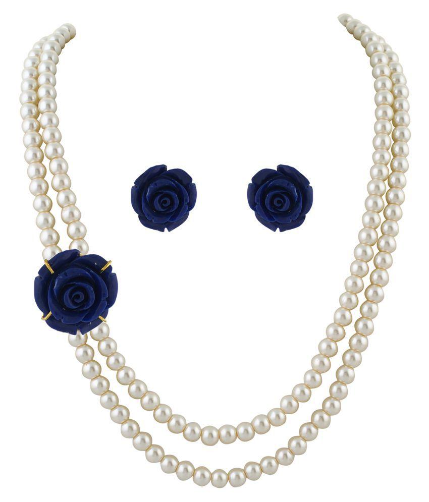 ClassiqueDesigner Jewellery Dark Blue Rose Pearl Set