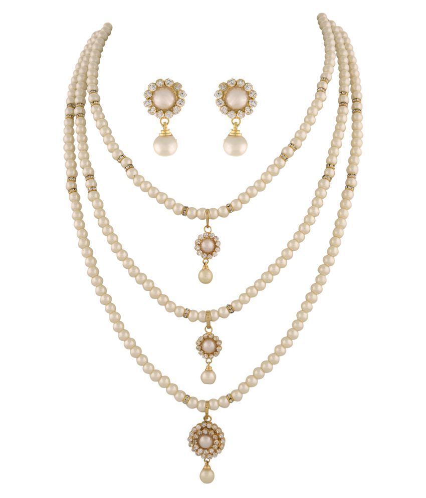 ClassiqueDesigner Jewellery Flower Designed Step By Step Pearl Set