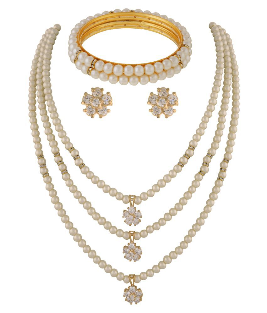 ClassiqueDesigner Jewellery Three Layer Pearl with CZ Stone Set with Bangles
