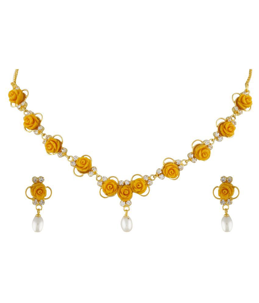 ClassiqueDesigner Jewellery Yellow Color Flower Necklace Set